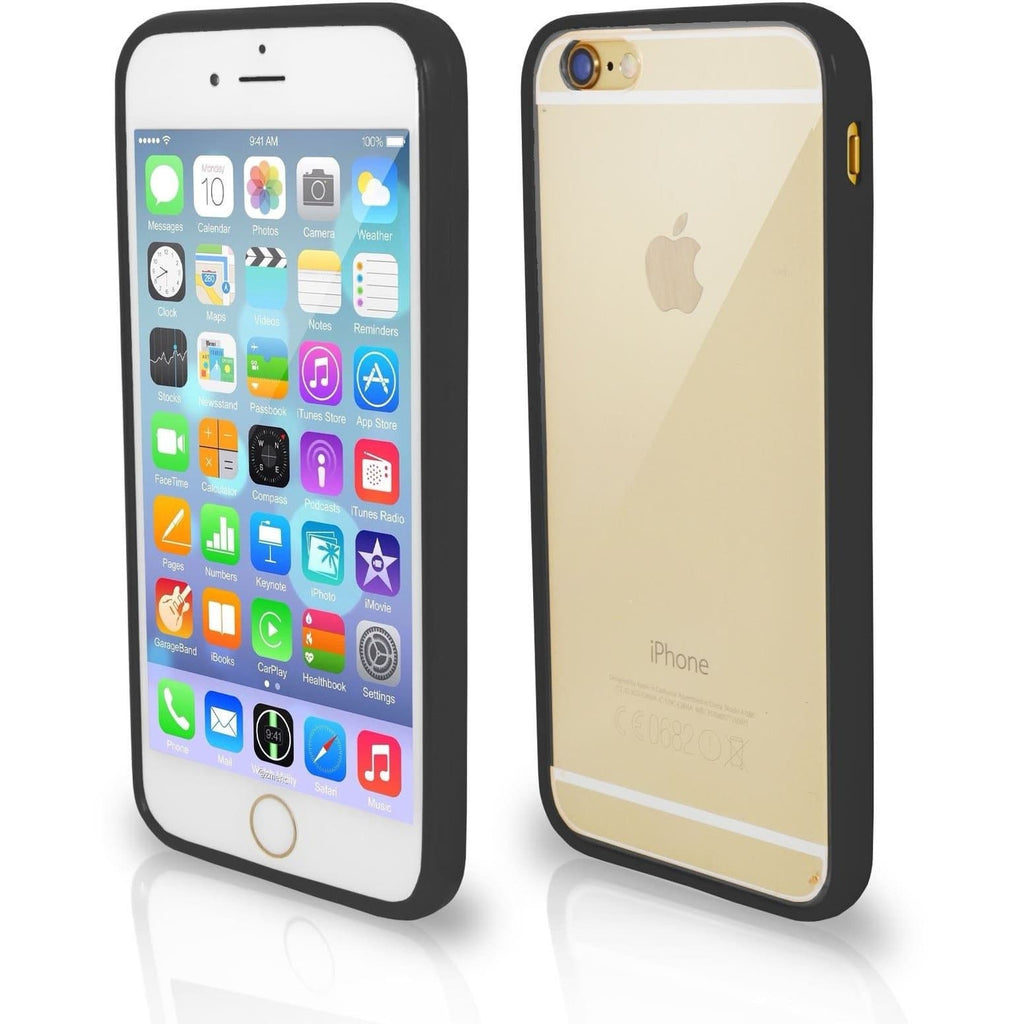 iPhone 6 / 6S - Bumper Clear Back Silicone Case - Black