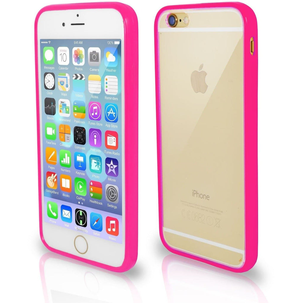 IPhone Cases - Apple IPhone 6/6S Bumper Clear Back Case - Hot Pink