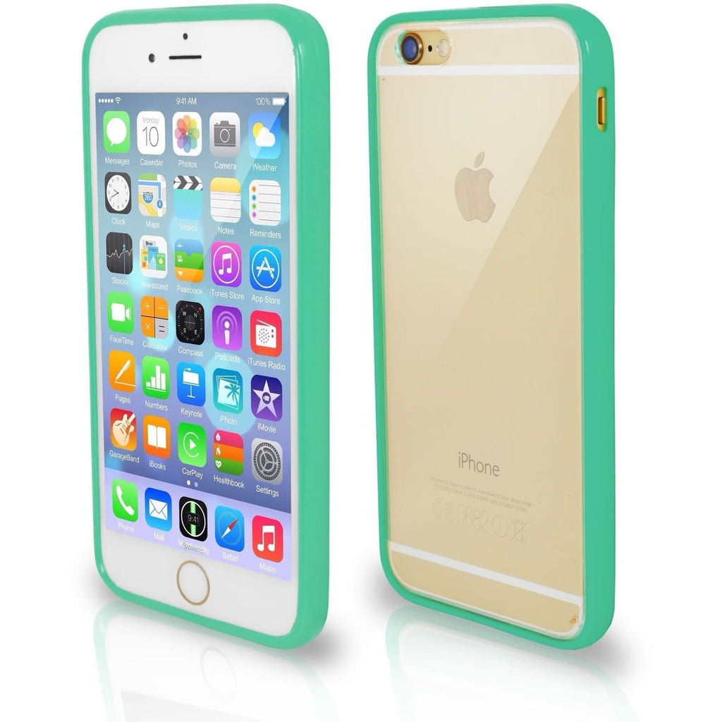 iPhone 6 / 6S - Bumper Clear Back Silicone Case - Teal