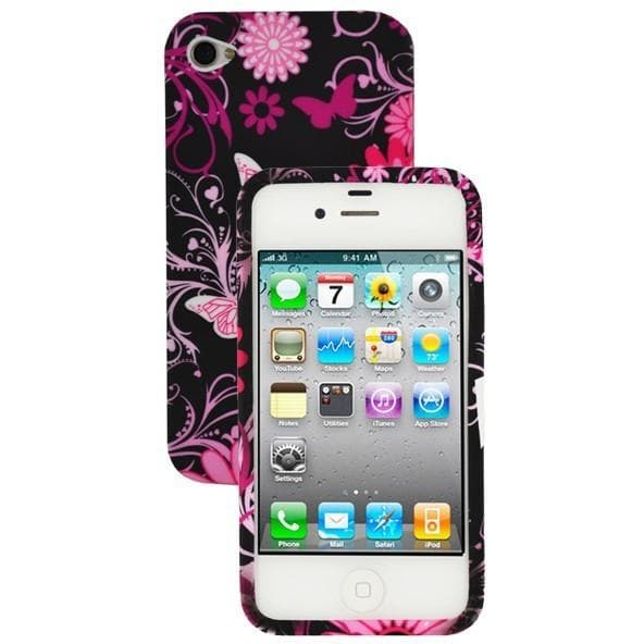iPhone 4 / 4S - Girly Butterfly Floral Gel Silicone Rubber Case - Pink