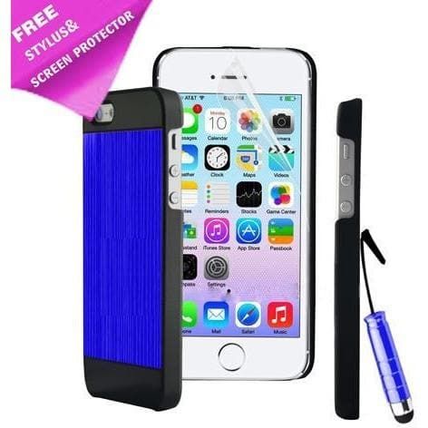 iPhone 4 / 4S - Luxury Hard Metal Brushed Aluminium Case Hybrid - Blue / Black