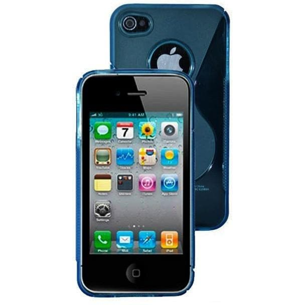 iPhone 4 / 4S -  S Line Gel Soft Silicone Case With Hole For Apple Logo - Blue