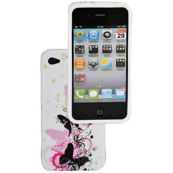 iPhone 4 / 4S - Girly Butterfly Floral Gel Silicone Rubber Case - White