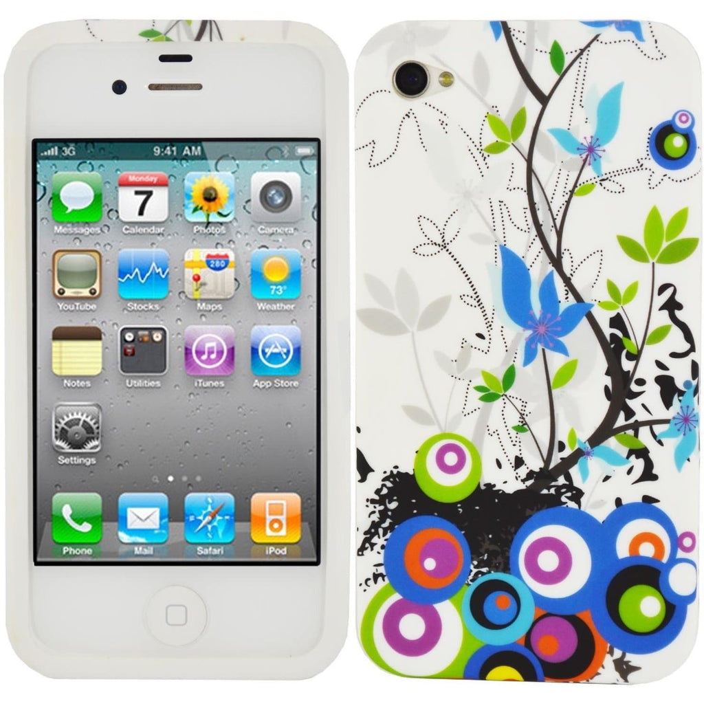 iPhone 4 / 4S - Gel Silicone Rubber Case Cover - Circles