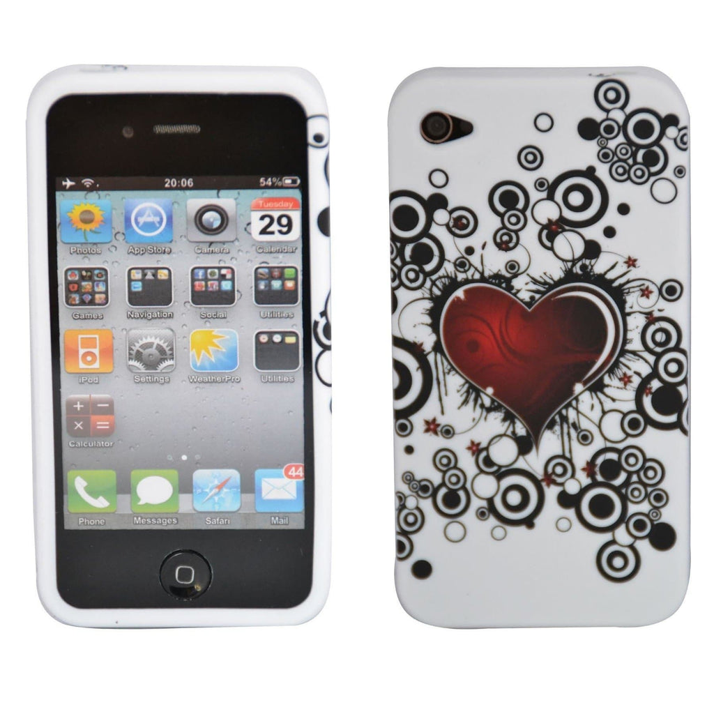 iPhone 4 / 4S - Gel Silicone Rubber Case Cover - Heart