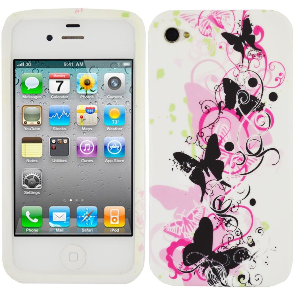 iPhone 4/4S - Pink Butterfly Silicone Case