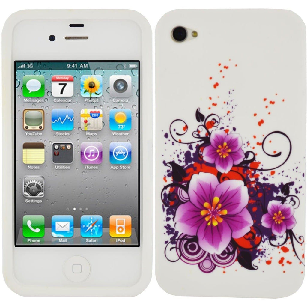 iPhone 4/4S - Purple Flowers Silicone Case