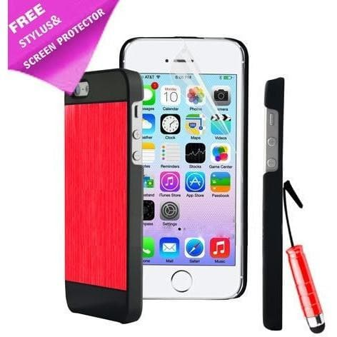 IPhone Cases - IPhone 4/4S - Red/Black - Brushed Aluminium Case + Screen Protector & Stylus Pen