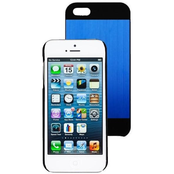 IPhone Cases - IPhone 5/5S - Blue/Black - Brushed Aluminium Case + Screen Protector & Stylus