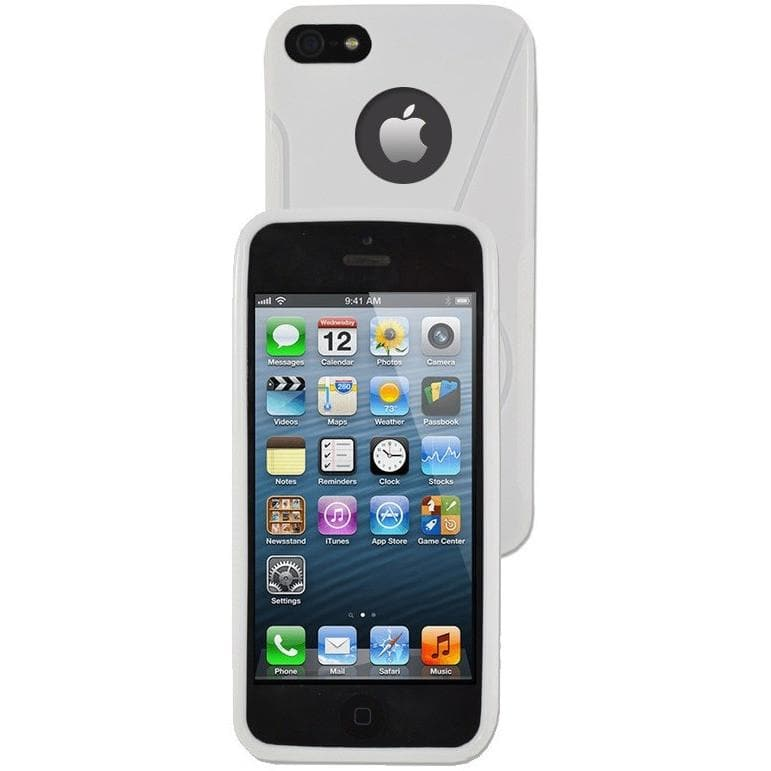 iPhone 5 / 5S / SE - S Line Gel Soft Silicone Case With Hole For Apple Logo - White