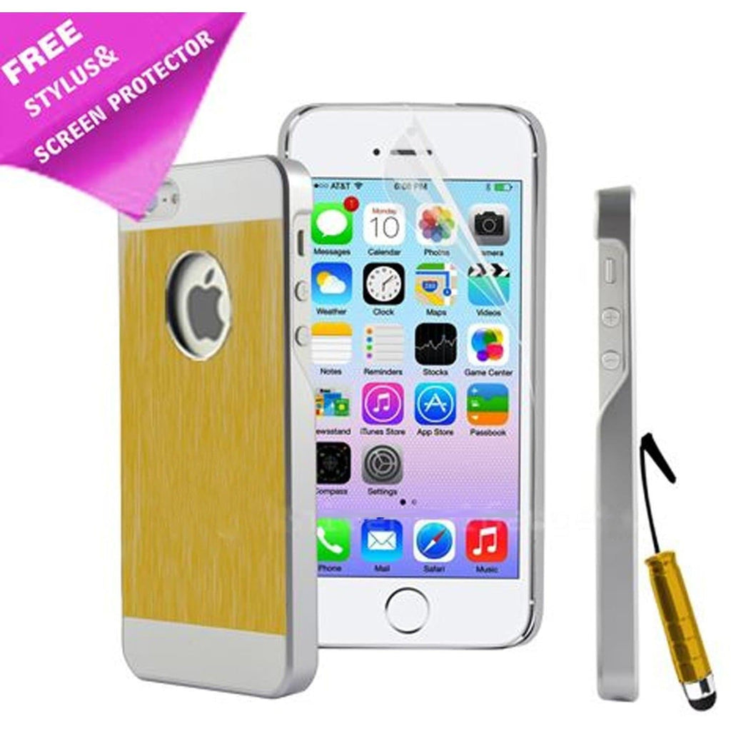 iPhone 5 / 5S / SE - Gold Brushed Aluminium Case Cover + Screen Protector & Stylus Pen