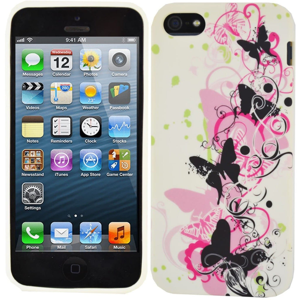 IPhone Cases - IPhone 5/5S - Pink Butterfly Silicone Case
