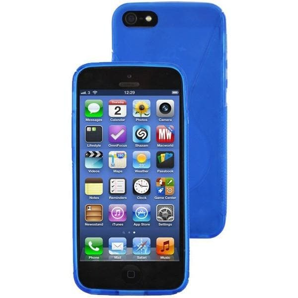 iPhone 5 / 5S / SE - Plain Blue Gel Soft Rubber Silicone Case Cover