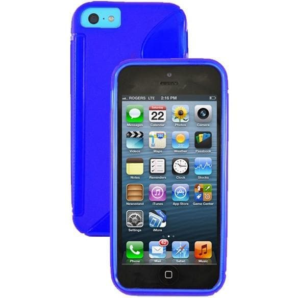 iPhone 5C - S Line Gel Soft Silicone Case With Hole For Apple Logo - Blue