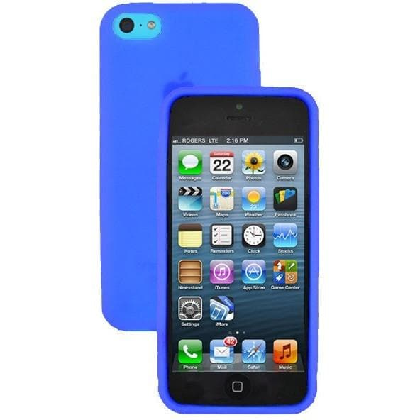 iPhone 5C - Plain Gel Soft Rubber Silicone Case Cover - Blue