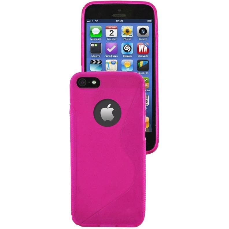 iPhone 5 / 5S / SE - S Line Gel Soft Silicone Case With Hole For Apple Logo - Pink