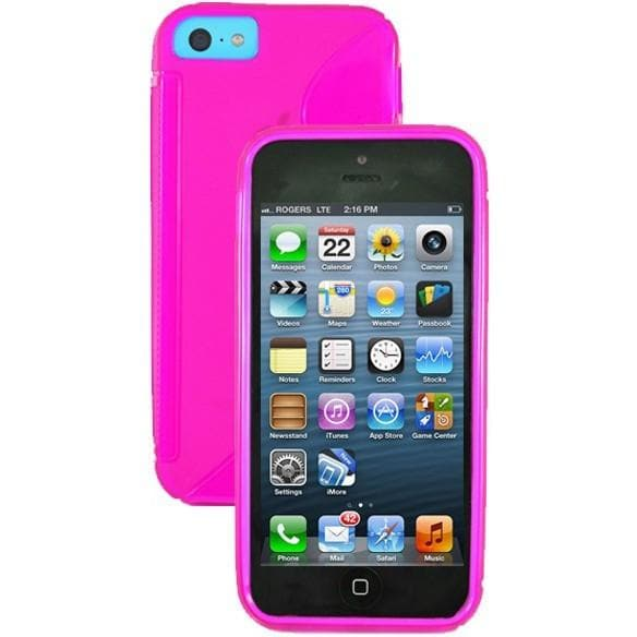 iPhone 5C - S Line Gel Soft Silicone Case With Hole For Apple Logo - Pink