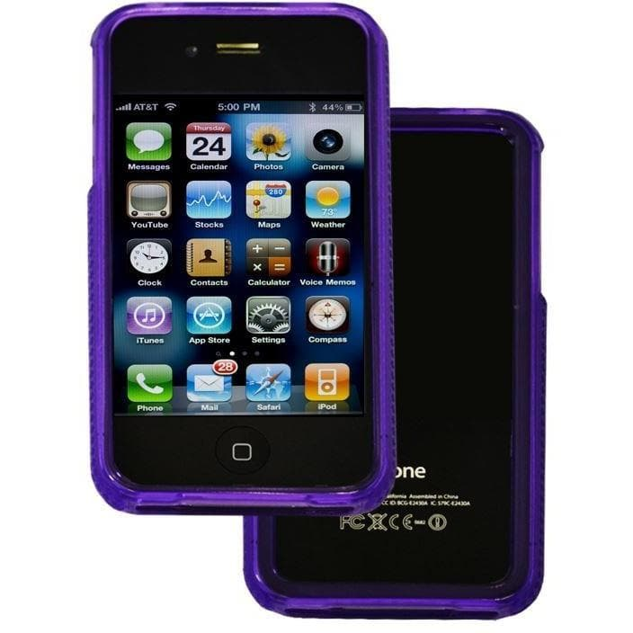 IPhone Cases - Purple Bumper Case Cover Silicone Apple Iphone 4 4G