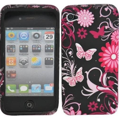 Purple Butterfly Floral Gel Silicone Case For iPhone 4 /4S