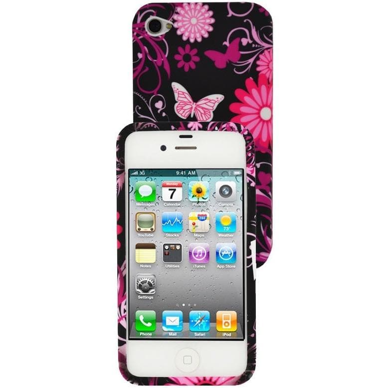 iPhone 5 / 5S / SE - Girly Butterfly Floral Gel Silicone Rubber Case - Pink