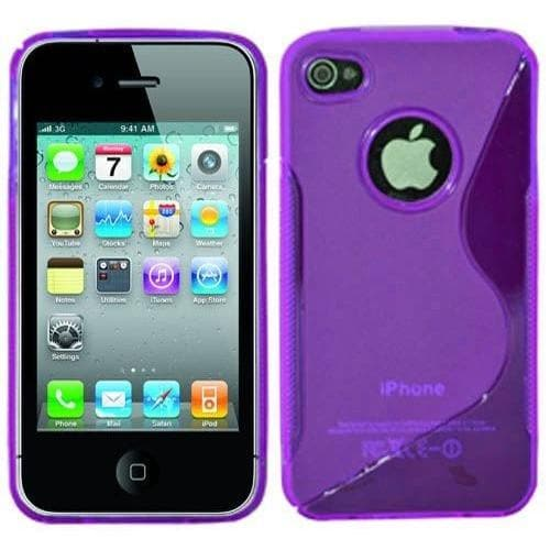 iPhone 4 / 4S -  S Line Gel Soft Silicone Case With Hole For Apple Logo - Purple