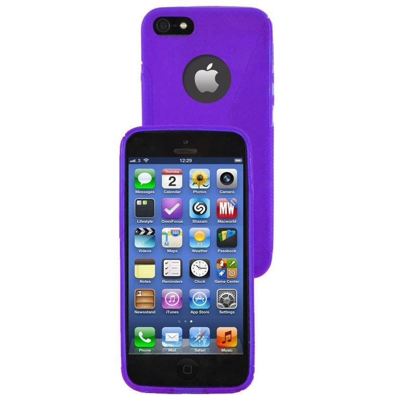 iPhone 5C - S Line Gel Soft Silicone Case With Hole For Apple Logo - Purple