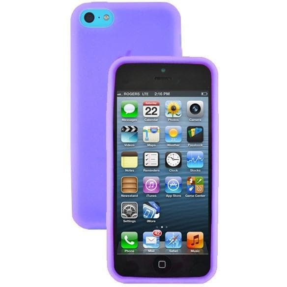 iPhone 5C - Plain Gel Soft Rubber Silicone Case Cover - Purple