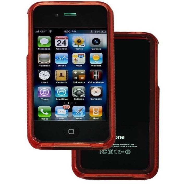 iPhone 4 / 4S - Bumper Soft Rubber Silicone Case - Red