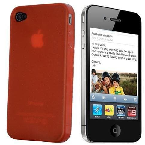 Red Gloss Gel Silicone Case Cover For Iphone 4 4S Hd