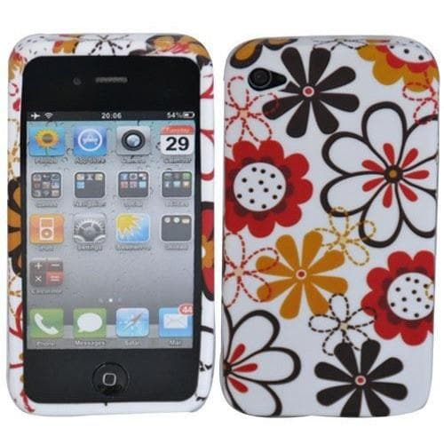 IPhone Cases - Red Pink Floral Gel Silicone Rubber Case Cover Iphone 4 4S