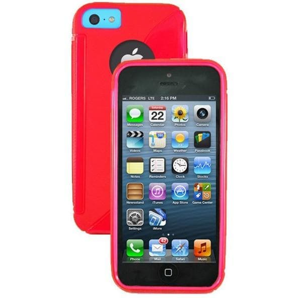 iPhone 5C - S Line Gel Soft Silicone Case With Hole For Apple Logo - Red
