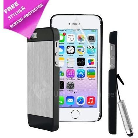 IPhone Cases - Silver & Black New Design Brushed Aluminium Case Cover For Iphone 5 5S 5G + Screen Protector And Stylus Pen