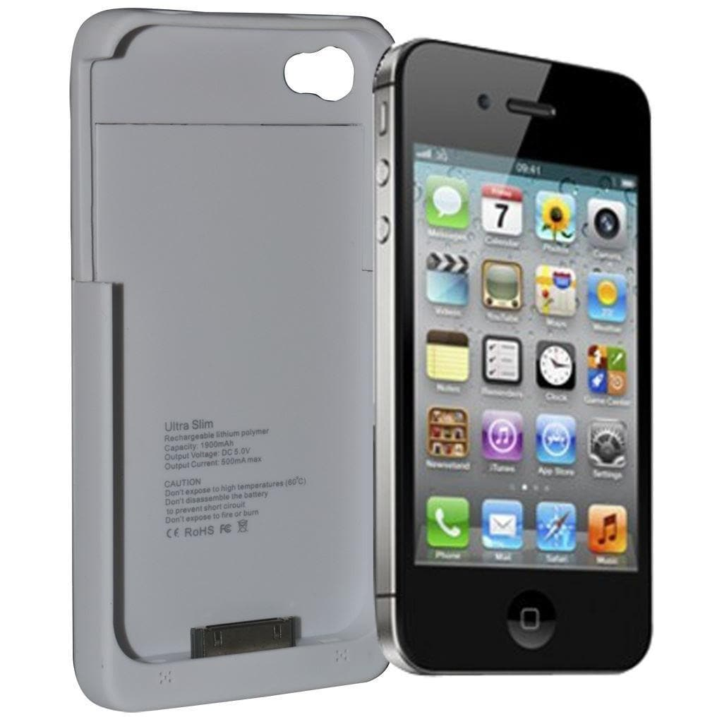 IPhone Cases - White 1900Mah Portable External Pack Backup Battery Charger Case For Iphone 4 4S