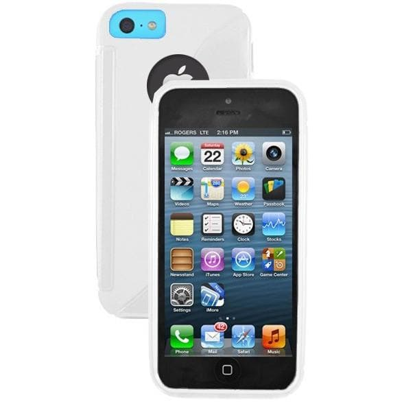 iPhone 5C - S Line Gel Soft Silicone Case With Hole For Apple Logo - White