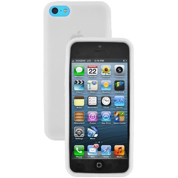 iPhone 5C - Plain Gel Soft Rubber Silicone Case Cover - White