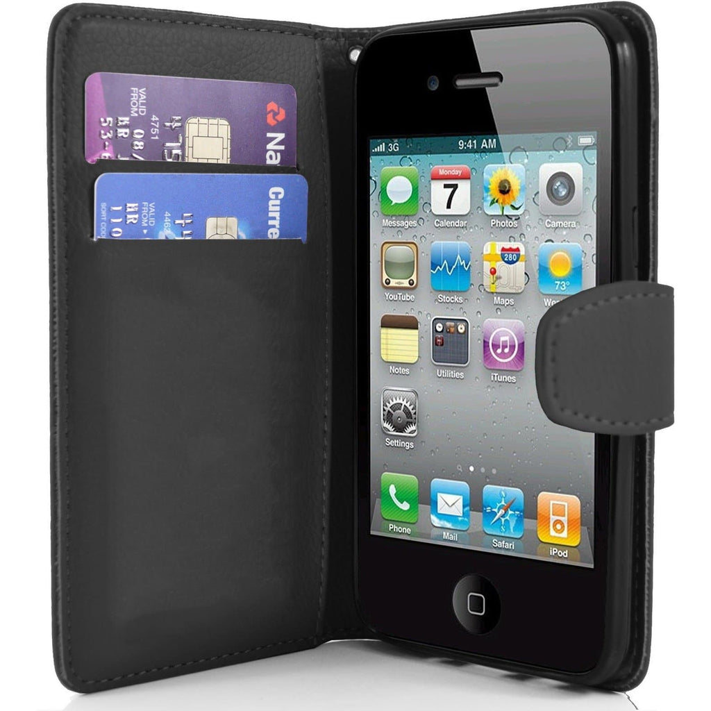 iPhone 4 / 4S - Classic PU Leather Card Wallet Protective Case - Black