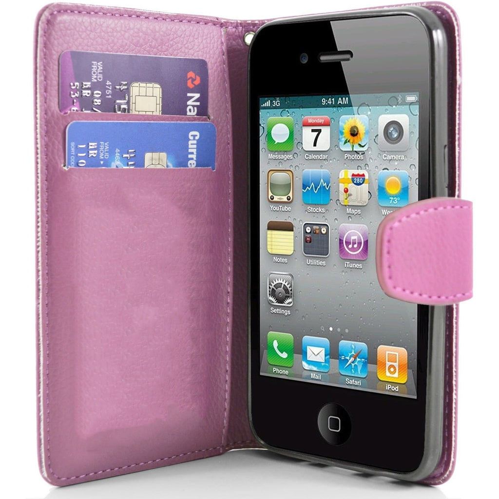 iPhone 4 / 4S - Classic PU Leather Card Wallet Protective Case - Pink