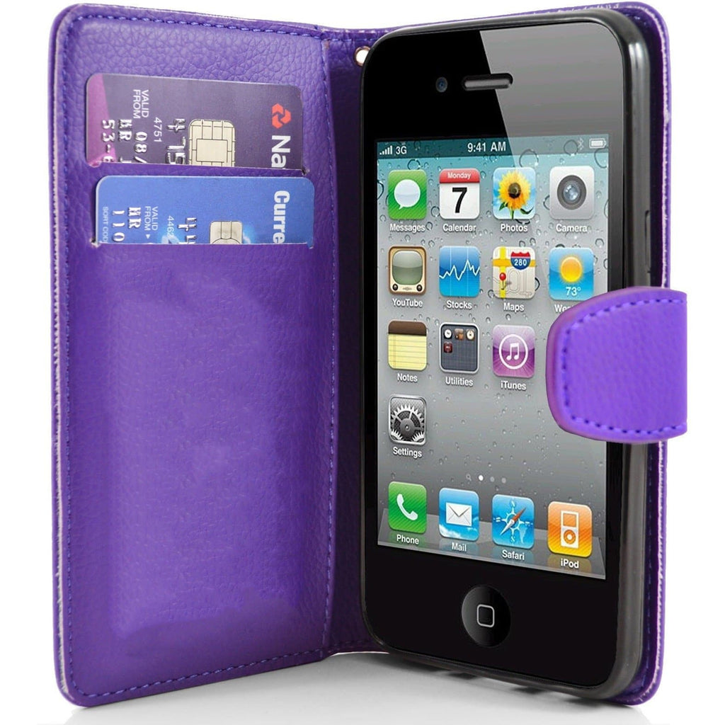 iPhone 4 / 4S - Classic PU Leather Card Wallet Protective Case - Purple