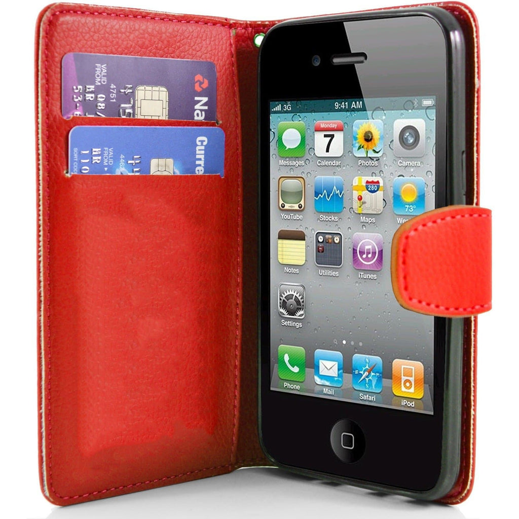 iPhone 4 / 4S - Classic PU Leather Card Wallet Protective Case - Red