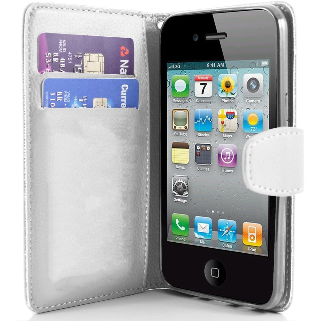 iPhone 4 / 4S - Classic PU Leather Card Wallet Protective Case - White