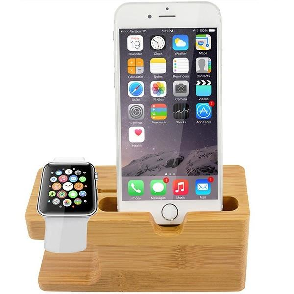 Bamboo Desktop Charging Dock Stand Holder - Apple Watch / Apple iPhone 6, 6S, 6 Plus, 6S Plus
