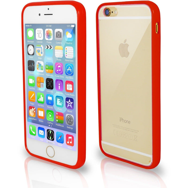 iPhone 7- Bumper Clear Back Silicone Case - Red