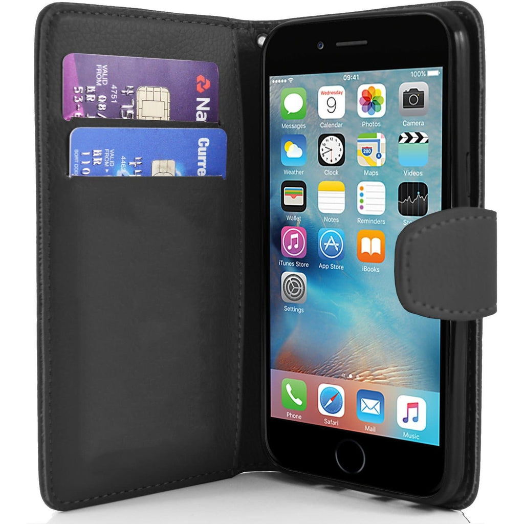 iPhone 6 / 6S - Classic PU Leather Card Wallet Protective Case - Black