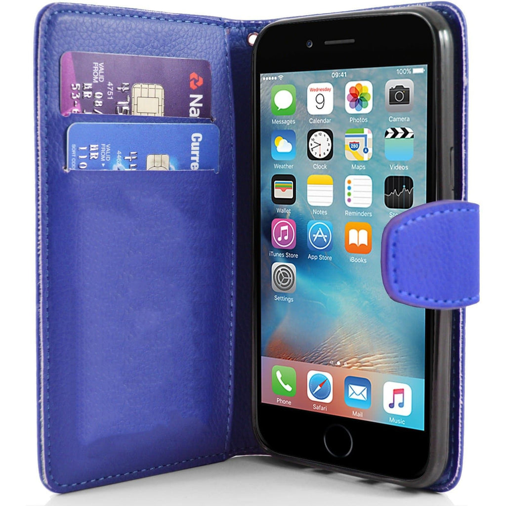 iPhone 6 / 6S - Classic PU Leather Card Wallet Protective Case - Blue