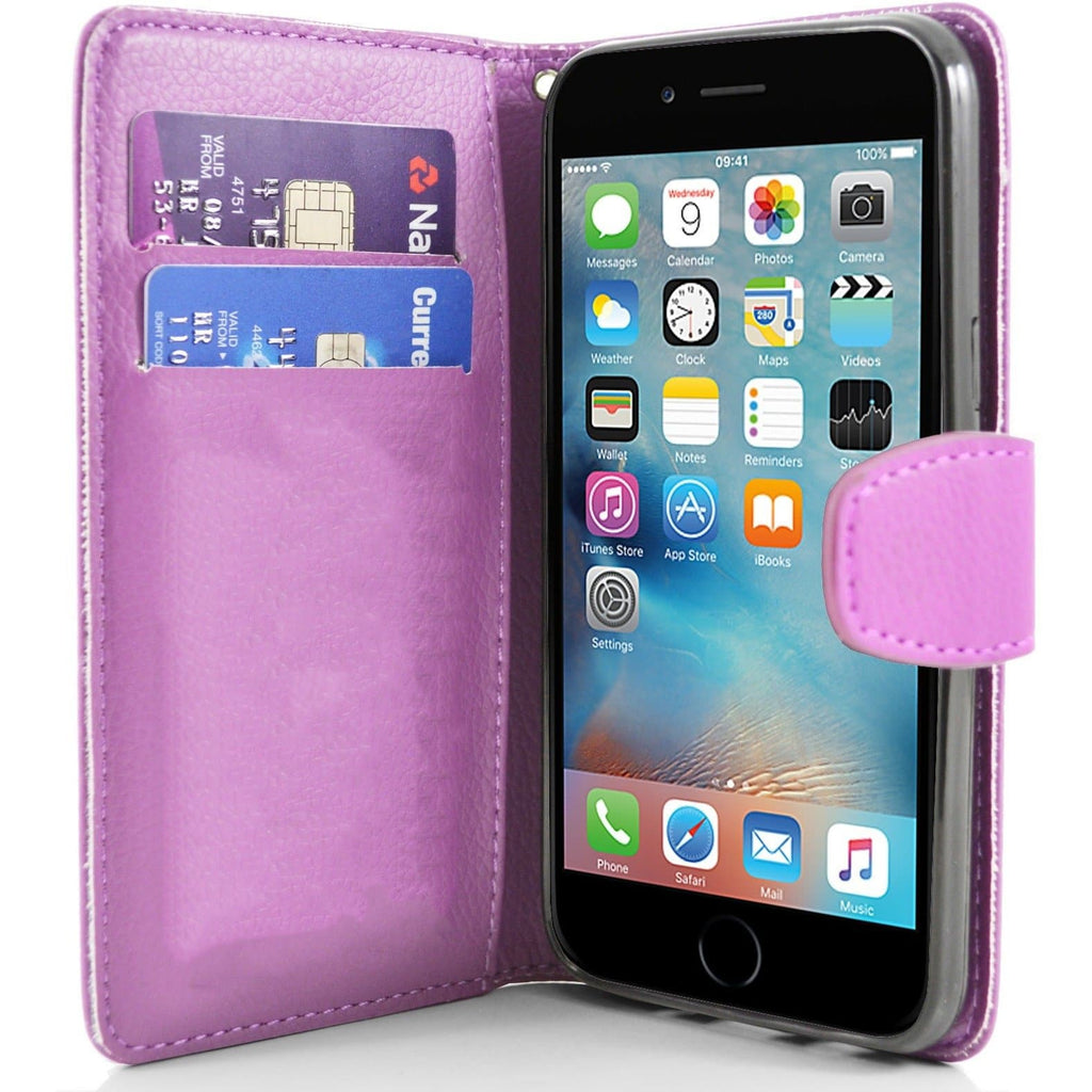 iPhone 6 / 6S - Classic PU Leather Card Wallet Protective Case - Pink