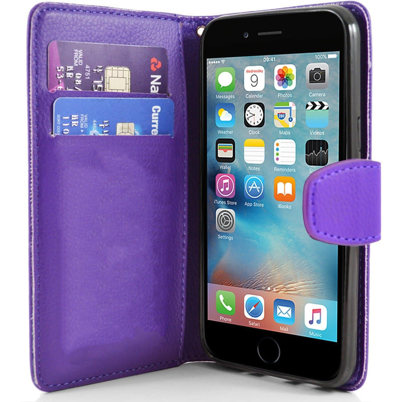 iPhone 6 / 6S - Classic PU Leather Card Wallet Protective Case - Purple