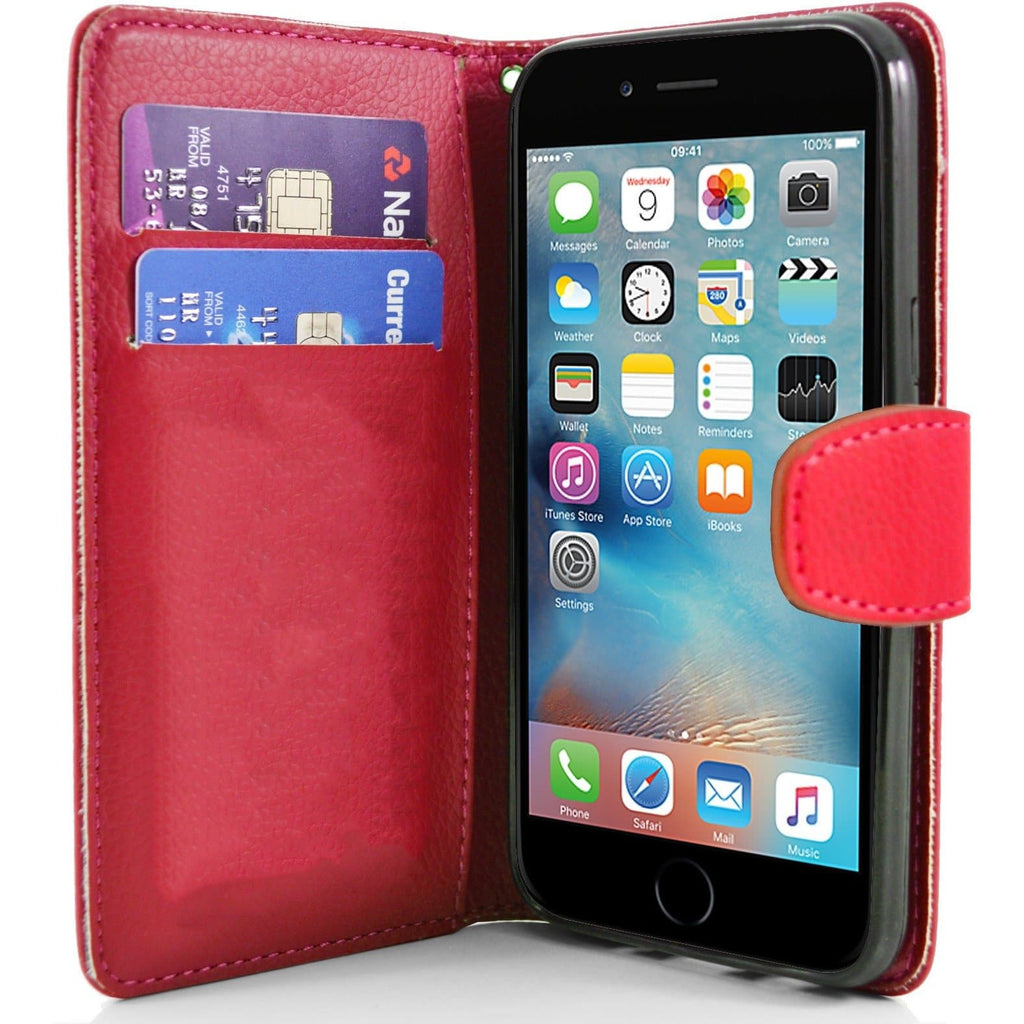 iPhone 6 / 6S - Classic PU Leather Card Wallet Protective Case - Red