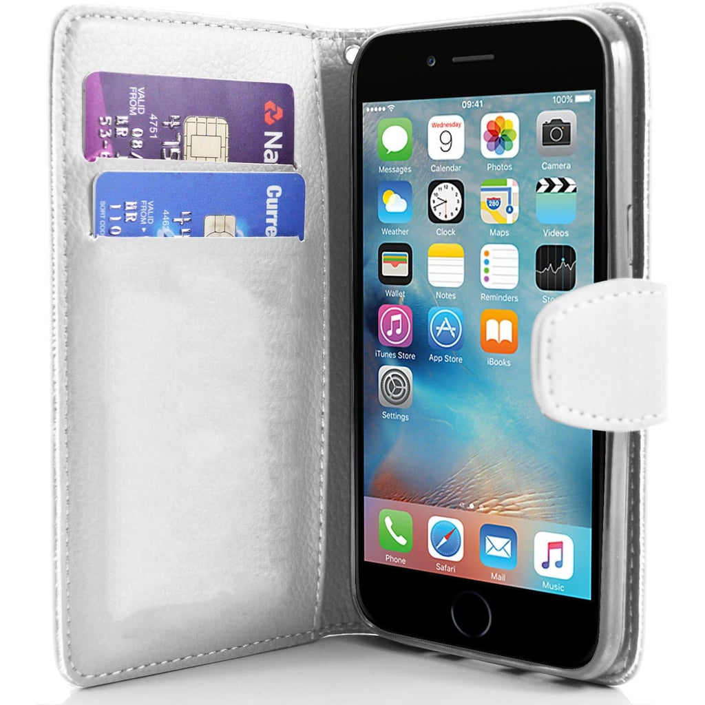 iPhone 6 / 6S - Classic PU Leather Card Wallet Protective Case - White