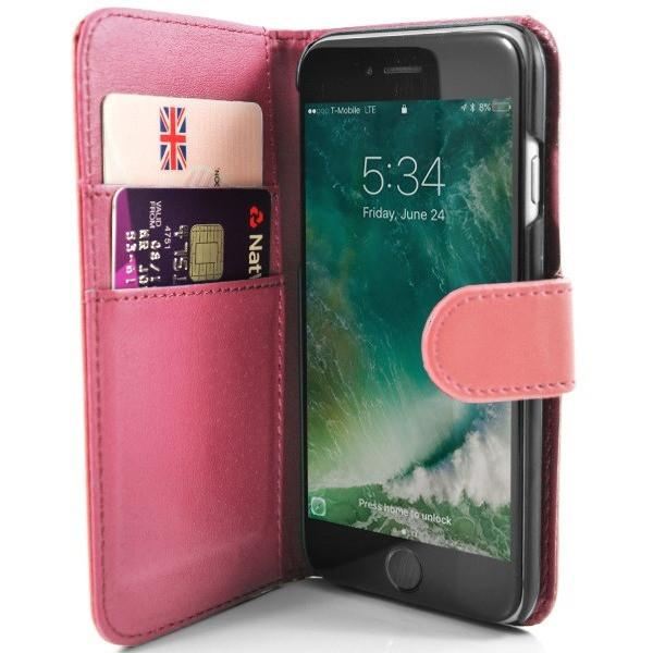 iPhone 7 Plus- Classic PU Leather Card Wallet Protective Case Baby Pink