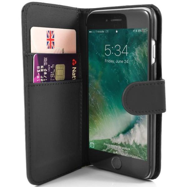 iPhone 7- Classic PU Leather Card Wallet Protective Case Black